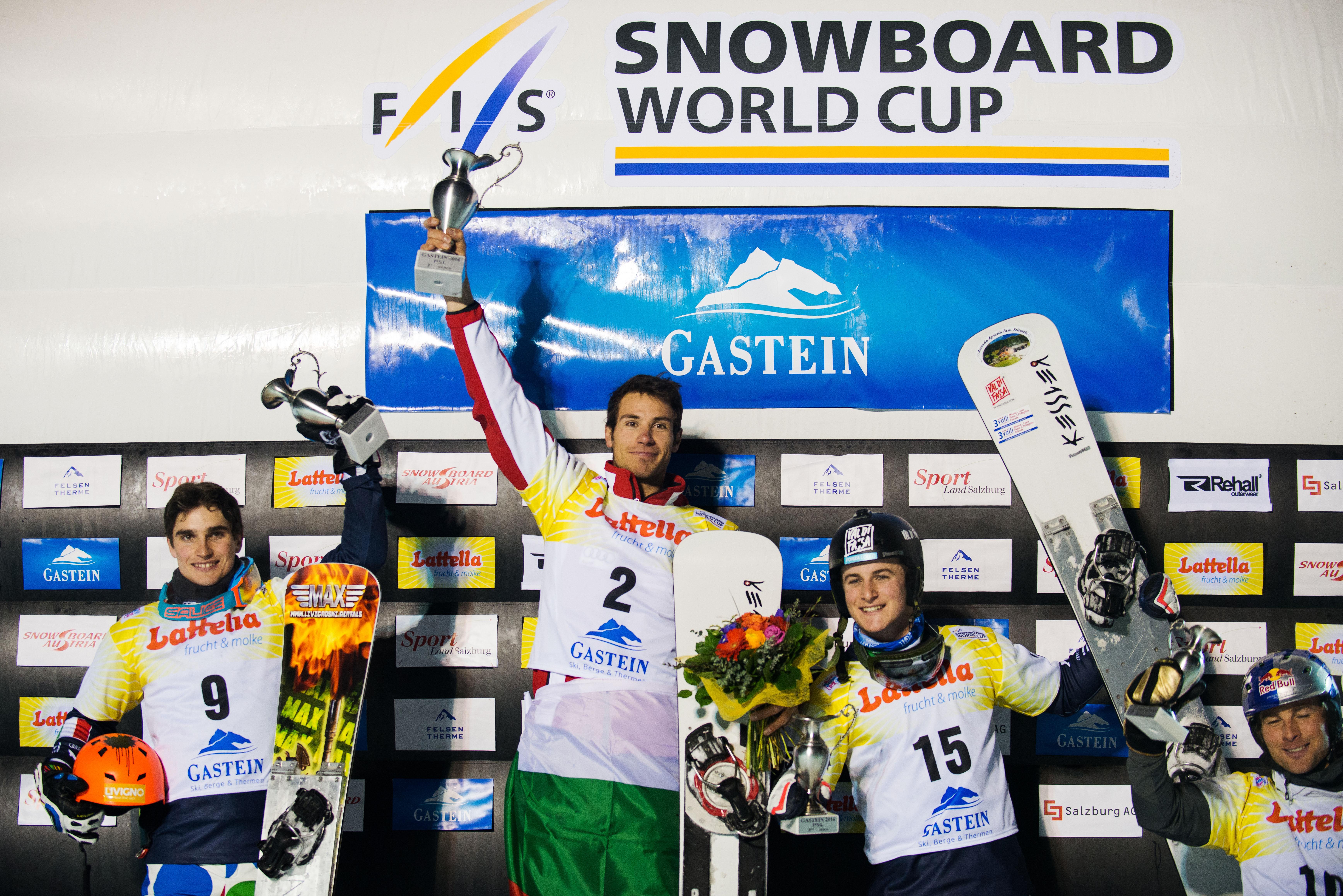 FIS Snowboard World Cup - Bad Gastein AUT - PSL - Men's podium with 2nd BORMOLINI Maurizio ITA 1st YANKOV Radoslav BUL, 3rd FELICETTI Mirko ITA and 4th KARL Benjamin AUT © Miha Matavz