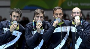 ( from L) Marco Fichera , Enrico Garozzo ,Paolo Pizzo , Andrea Santarelli for Italy show silver medals win Men's Epée Team gold Medal Italy France match of the Rio 2016 Olympic Games Fencing events at the Carioca Arena 3 in the Olympic Park in Rio de Janeiro, Brazil, 15 August 2016. Ansa / Ciro Fusco