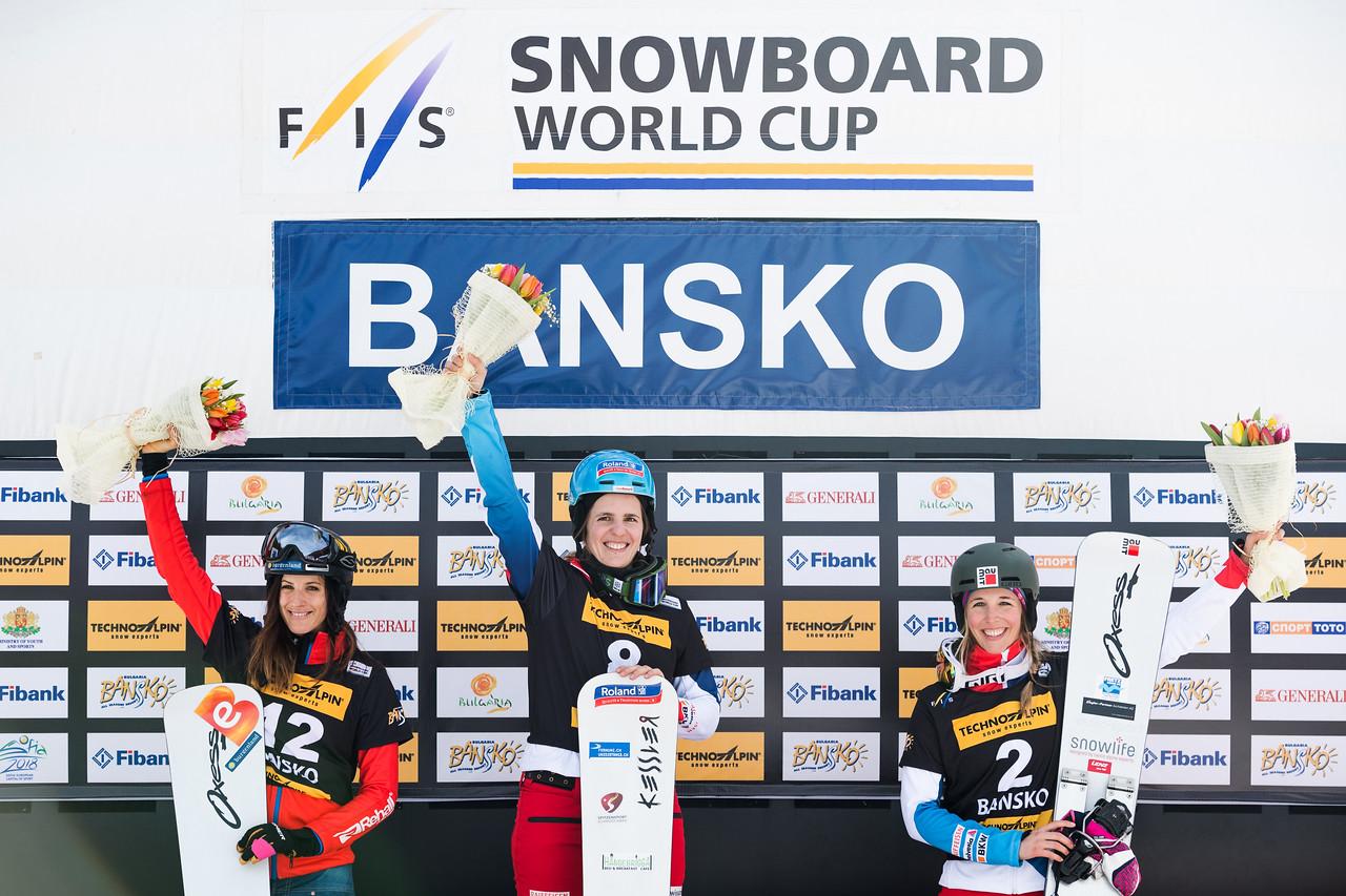 FIS Snowboard World Cup - Bansko BUL - PGS - Women's podium with 2nd DUJMOVITS Julia AUT, 1st KUMMER Patrizia SUI and 3rd JENNY Ladina SUI © Miha Matavz/FIS