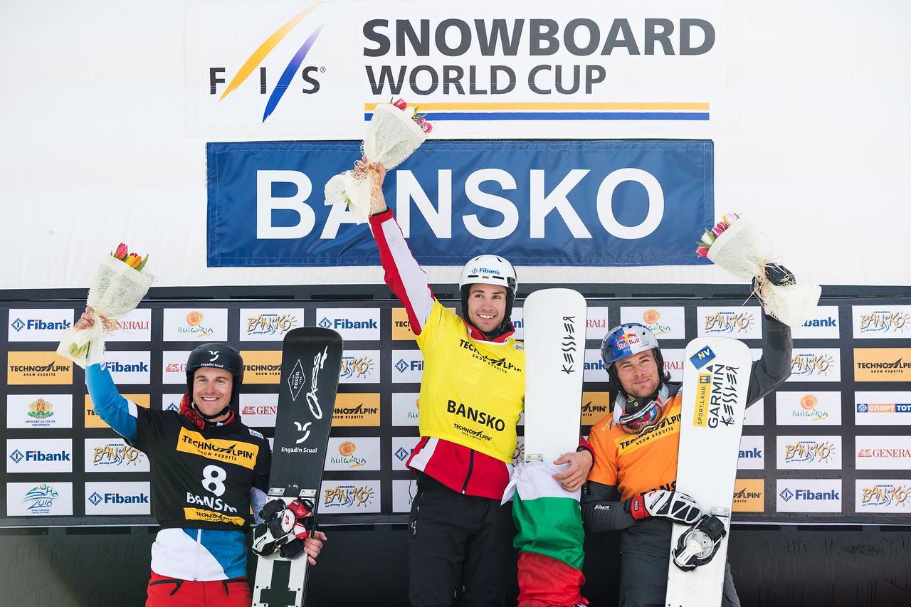 FIS Snowboard World Cup - Bansko BUL - PGS - Men's podium with 2nd GALMARINI Nevin SUI, 1st YANKOV Radoslav BUL and 3rd KARL Benjamin AUT © Miha Matavz/FIS